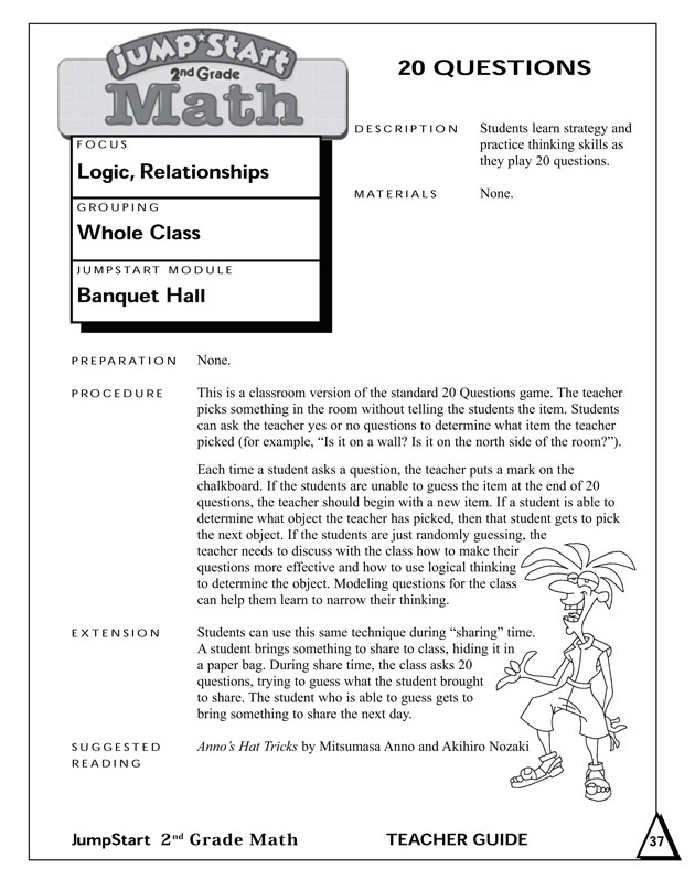 20 Questions - Math Activity for 2nd Graders