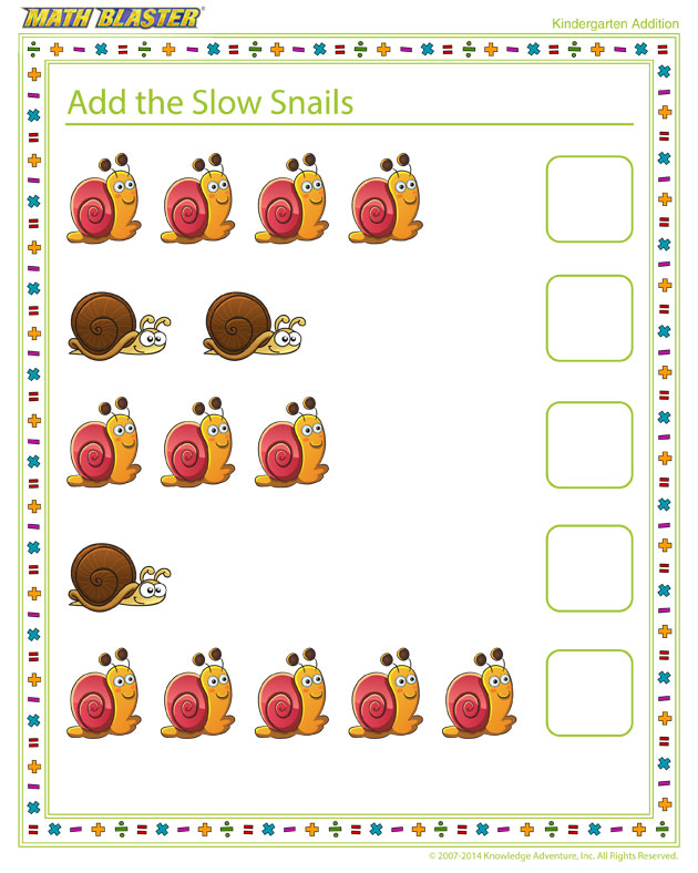 Add the Slow Snails - Free Printable Math Worksheet for Kindergarten Grade