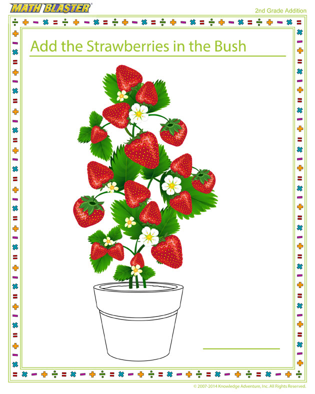 Add the Strawberries in the Bush - Free Printable Math Worksheet for 2nd Grade