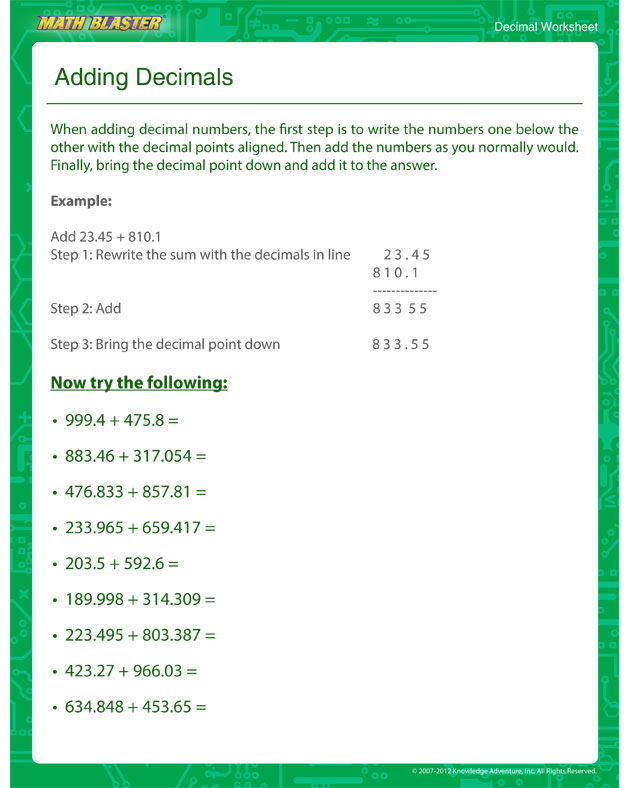 Adding Decimals - Decimal Worksheet for Kids