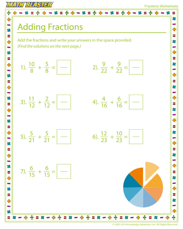 See this Printable Fraction Worksheet for Elementary Grades