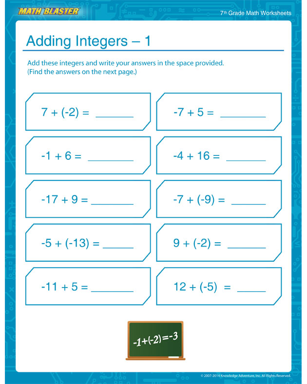 Adding Integers – 1 - Adding Integers is Easy!