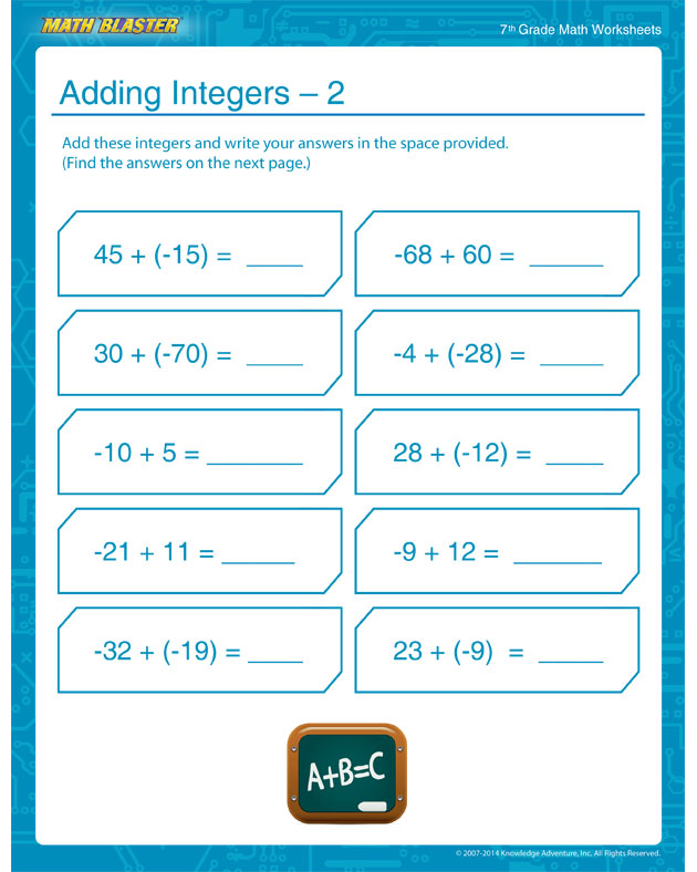 Adding Integers – 2 - Integer Addition Worksheets for Middle School