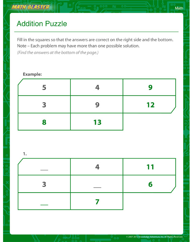 Addition Puzzle - Addition Worksheet for Kids