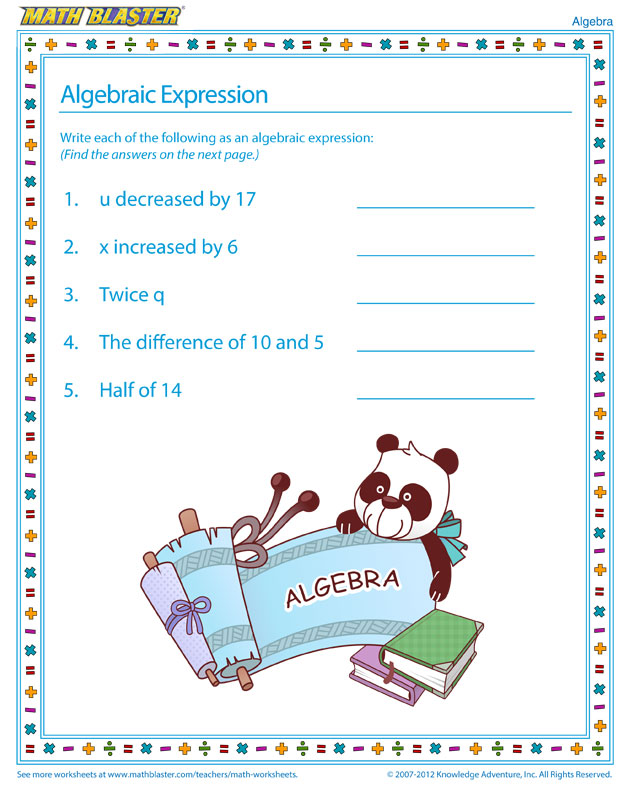 Algebraic Expression - Check out this Algebra Worksheet for Kids
