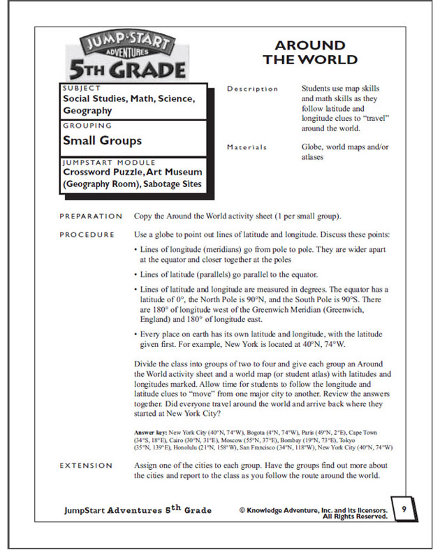 Around the World - Math Worksheet for 5th Graders