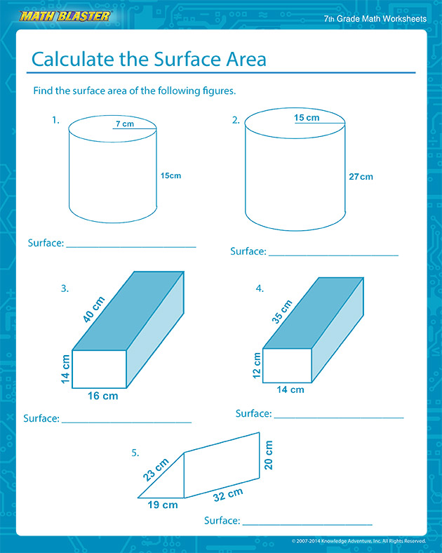 Calculate the Surface Area - Free Surface Area Worksheets for Middle School