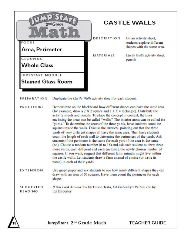Castle Walls - Geometry Worksheet for 2nd Graders