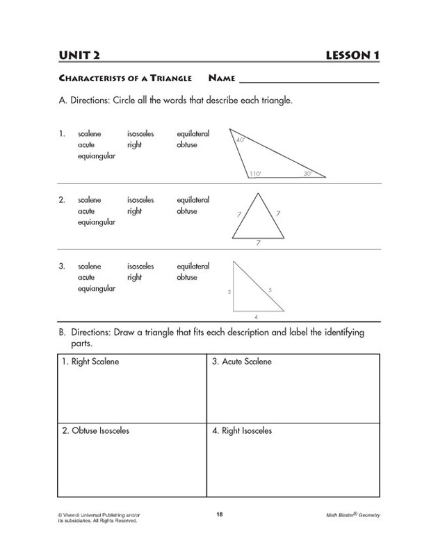 Characteristics of a Triangle - Geometry Worksheet for Kids