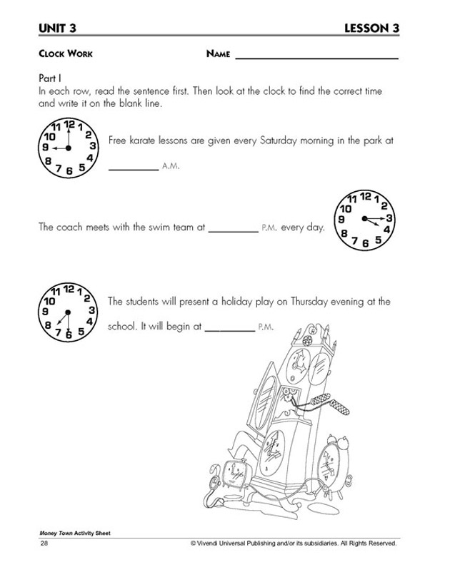 Clock Work – Time Worksheet for Kids - Math Blaster