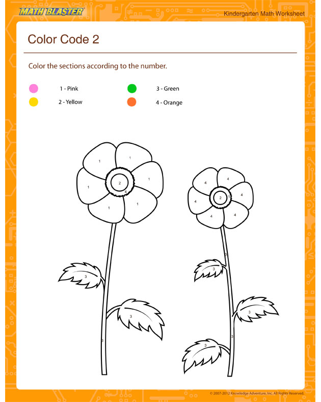 Color Code 2 - Math Worksheet for Kindergarten