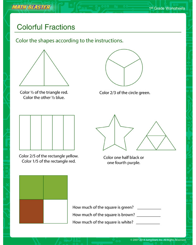 Colorful Fractions - Place Value Worksheet for Kids