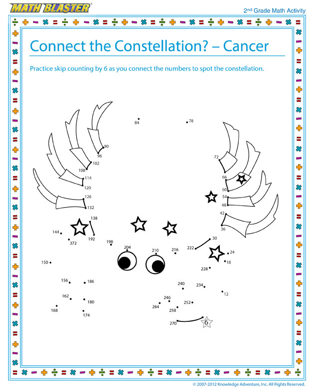 Connect the Constellation – Cancer - Math Activity for Second Graders