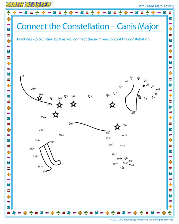 Connect the Constellation – Canis Major - Math Activity for Second Graders