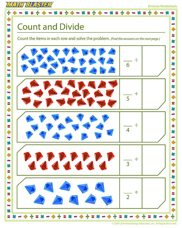Count and Divide - division worksheet for kids