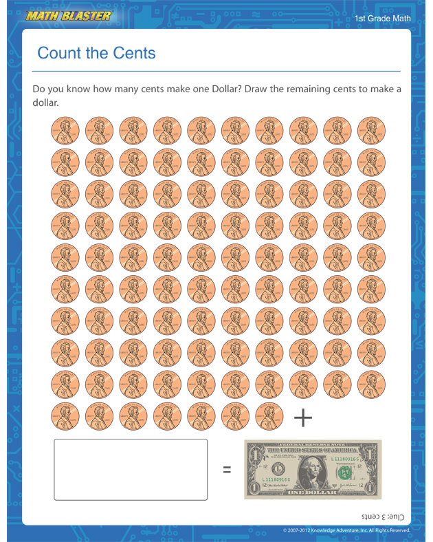 Count the Cents - Money Worksheet for 1st Graders
