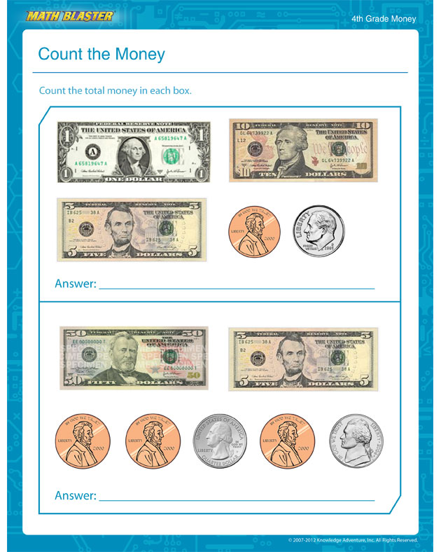 Count the Money - Free Math Worksheet for 4th Grade