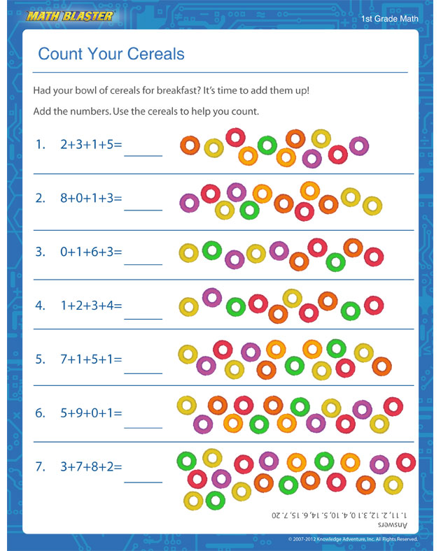 Count Your Cereals - Addition Worksheet for 1st Graders