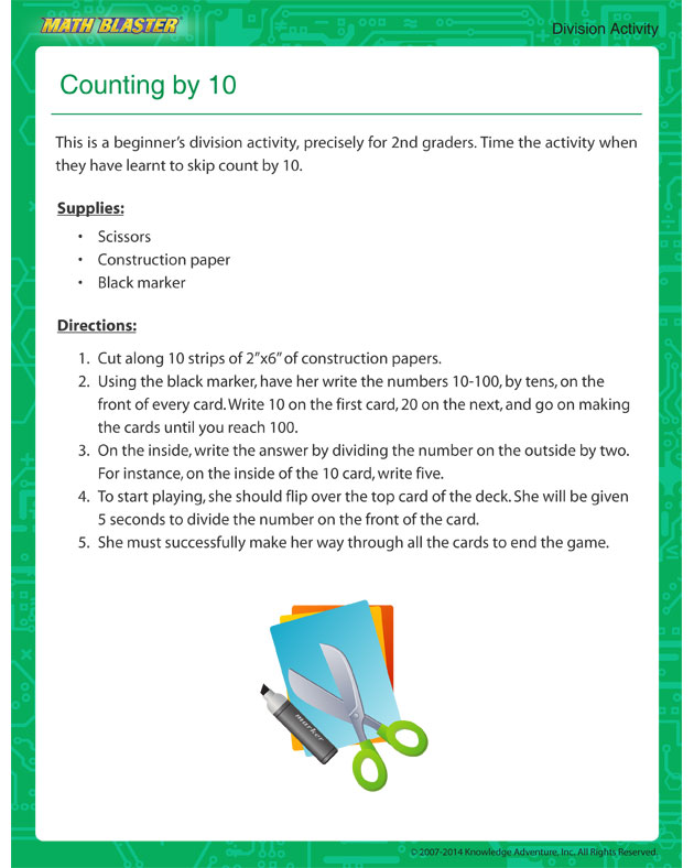 Counting by 10 - Free Kindergarten Math Activity
