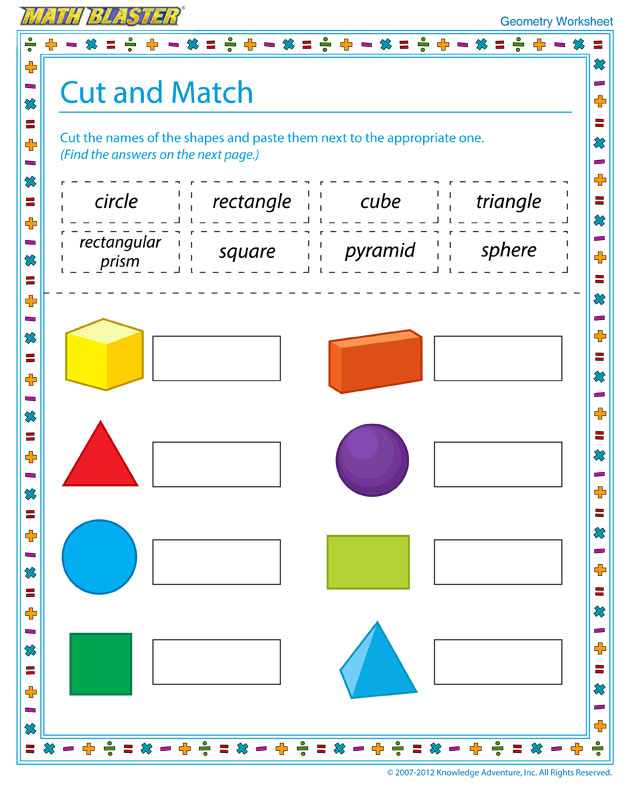 Cut and Match - Free Geometry Worksheet for Kids