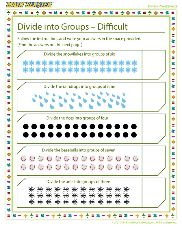Divide into Groups - Difficult - Fun division worksheet for kids