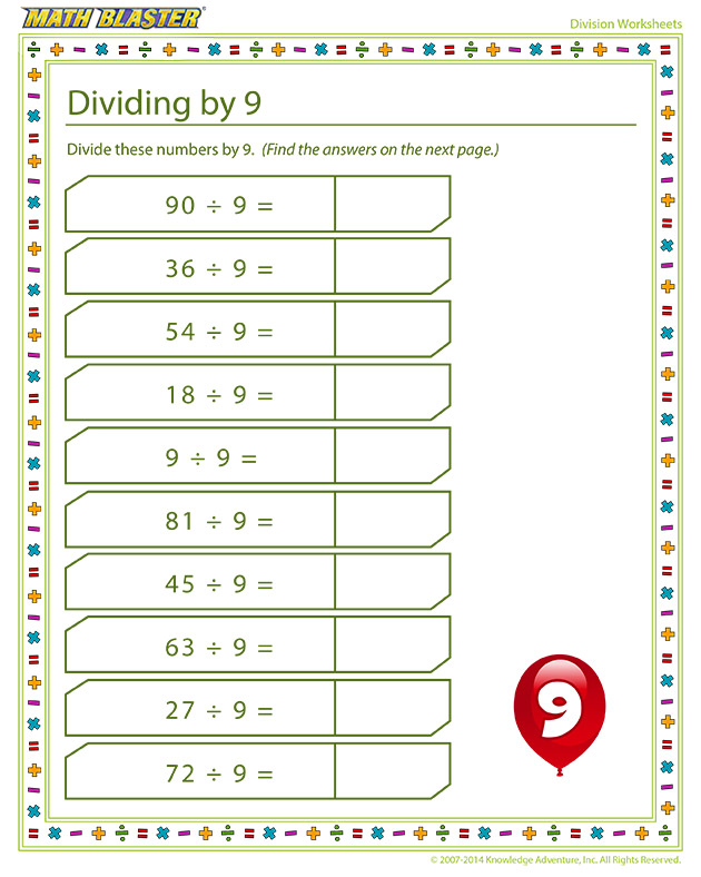 Dividing by 9 - Division is fun!