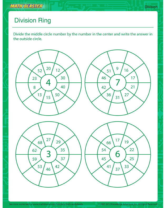 Division Ring - Free Math Worksheet for Kids