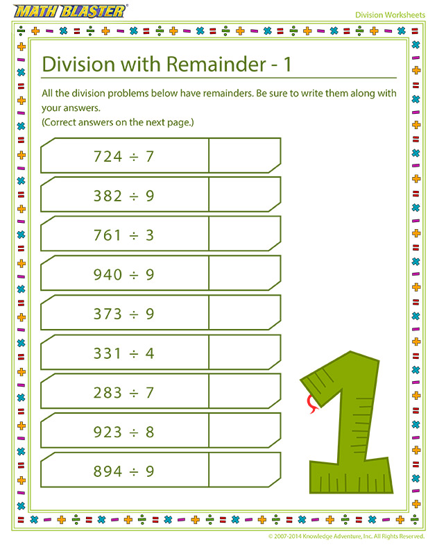 Division with Remainder – 1 - Learning division is fun!