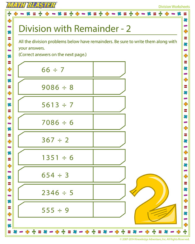 Division with Remainder – 2 - Online division printable