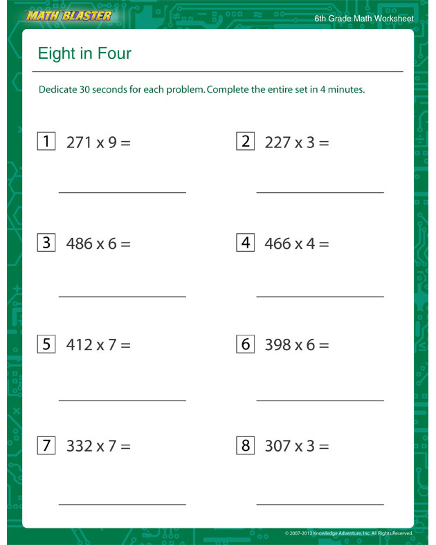 Eight in Four - Free Multiplication Printable for 6th ...