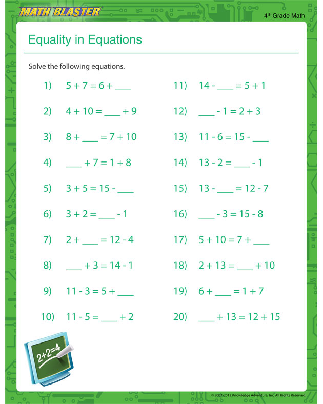 Equality in Equations – Equation Worksheet for Kids - Math Blaster