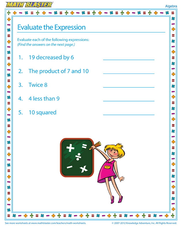 Evaluate the Expression - Fun Algebra Worksheet for Kids
