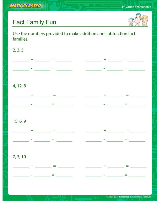 Fact Family Fun - Fact Family Worksheet for Kids
