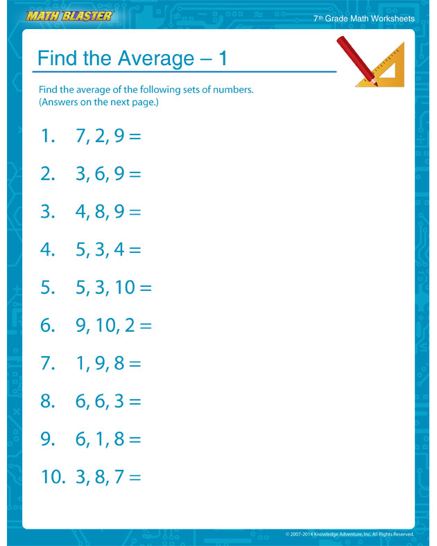 Find the Average – 1 - 7th Grade Statistics Worksheet and Printable