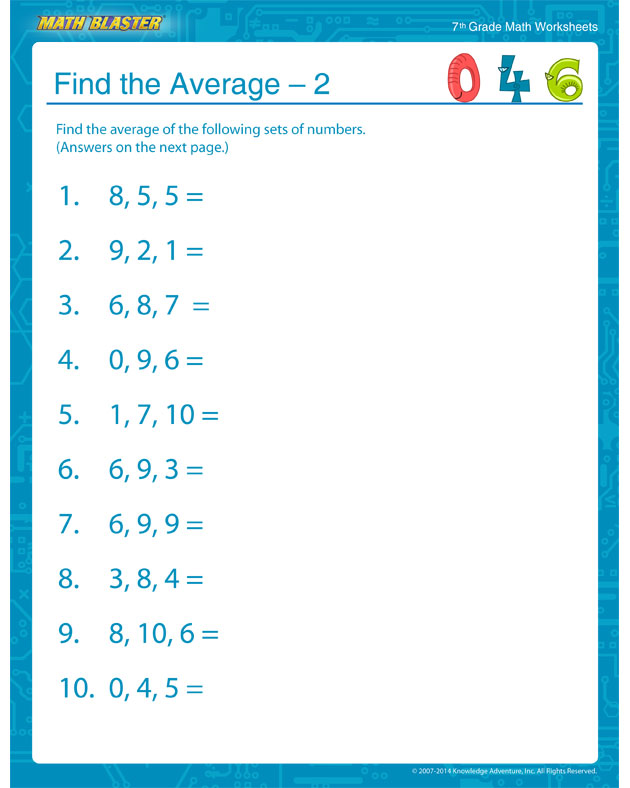 Find the Average – 2 - 7th Grade Statistics Worksheets Online