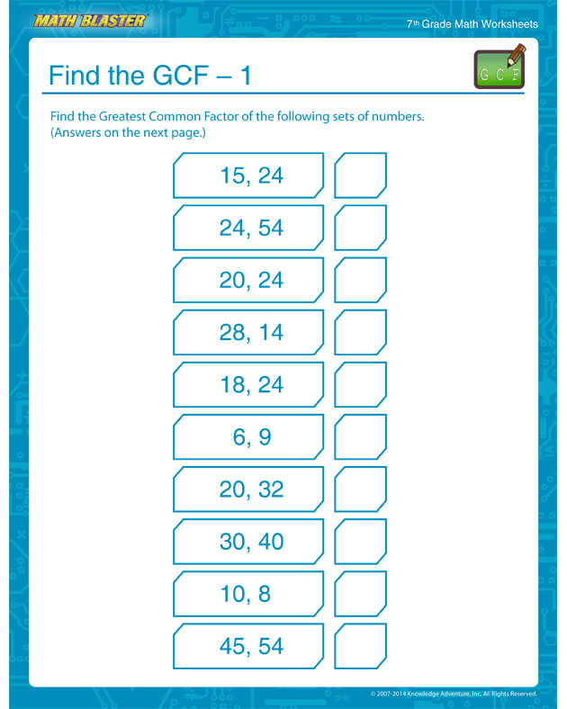 Find the GCF – 1 - 7th Grade GCF Worksheets