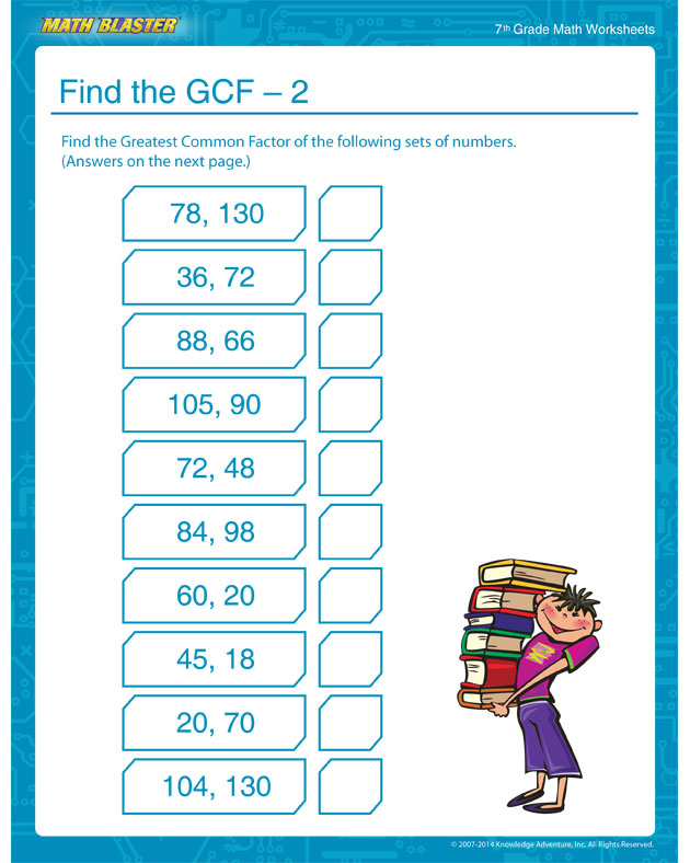 Find the GCF – 2 - GCF Worksheets and Printables for 7th Grade