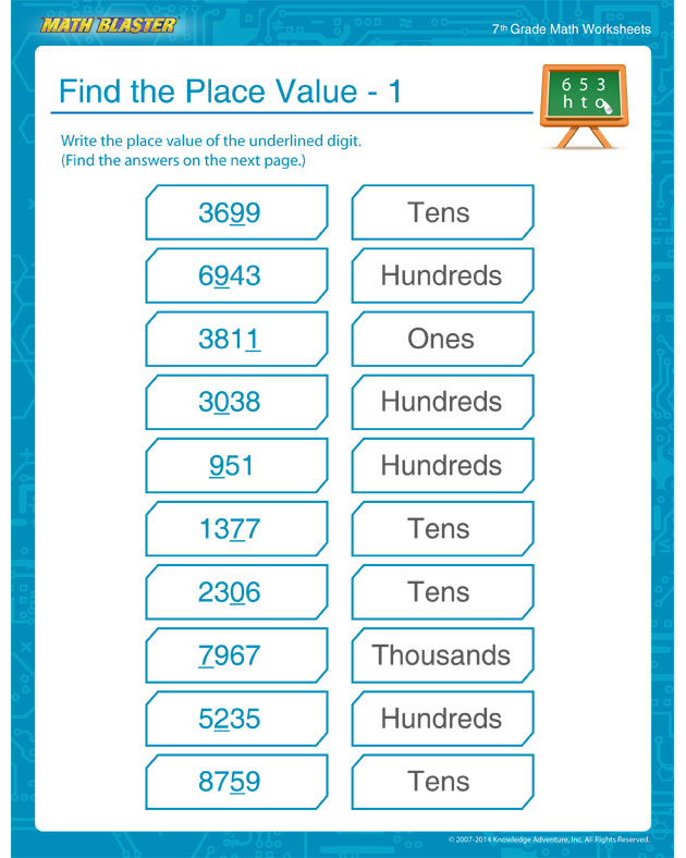 Find the Place Value – 1 - 7th Grade Math Worksheet to Teach Place Values