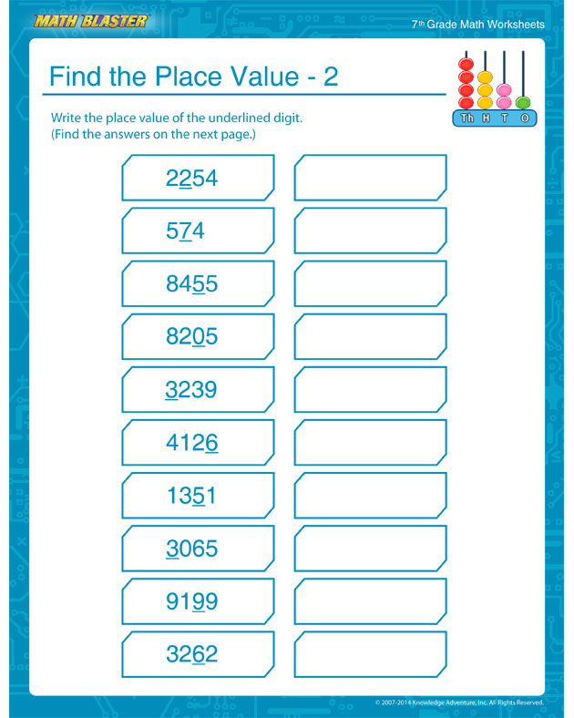 Find the Place Value – 2 - 7th Grade Place Values Worksheet and Printable