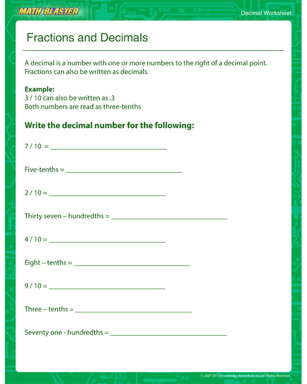 Fractions and Decimals - Decimal Worksheet for Kids