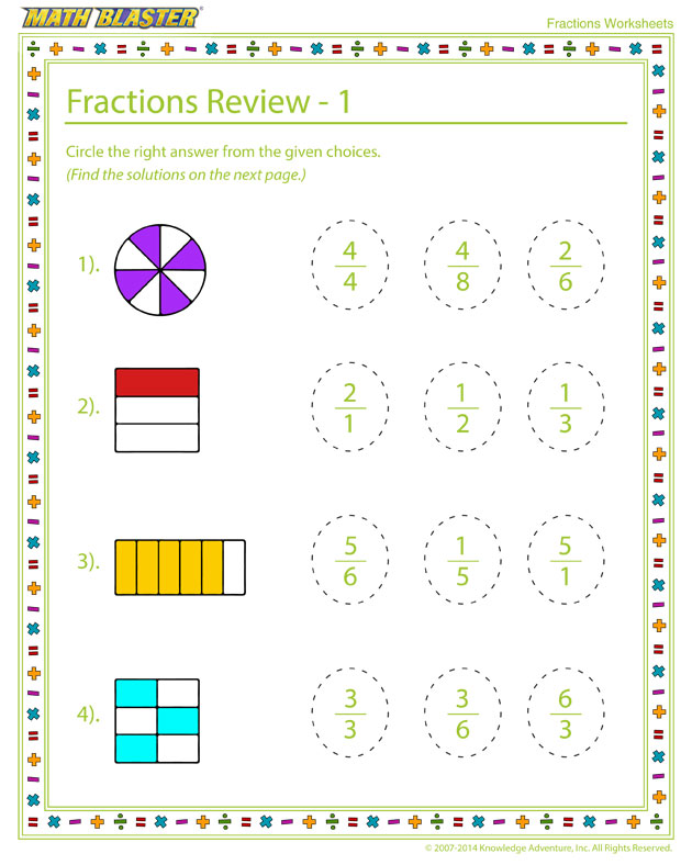 Fractions Review - 1 - Cool Fraction Worksheet for Elementary