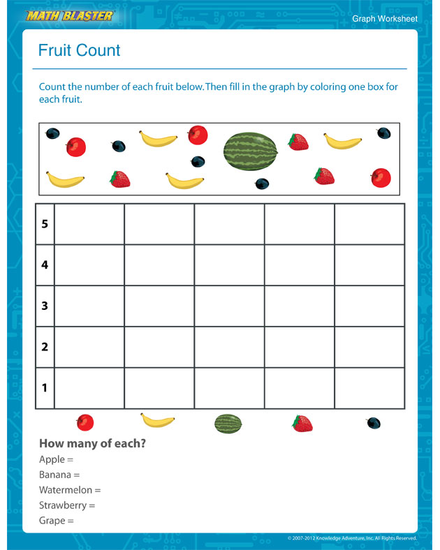 ... Count View - Printable Graph Worksheet for Kindergarten - Math Blaster