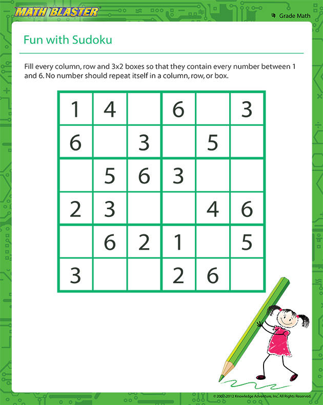 Fun with Sudoku – Sudoku Worksheet for Kids - Math Blaster