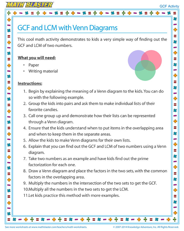gcf and lcm with venn diagrams view - math activities
