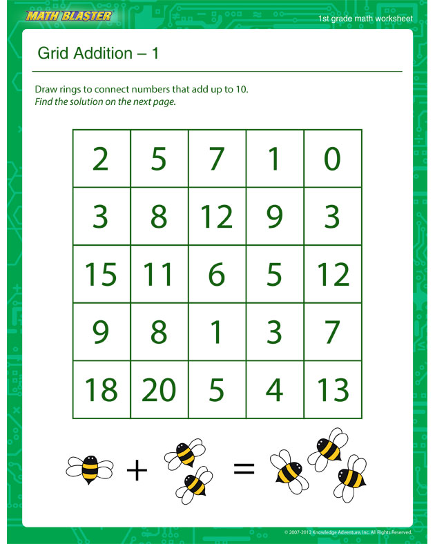 Grid Addition – 1 - Math Worksheet for 1st Graders