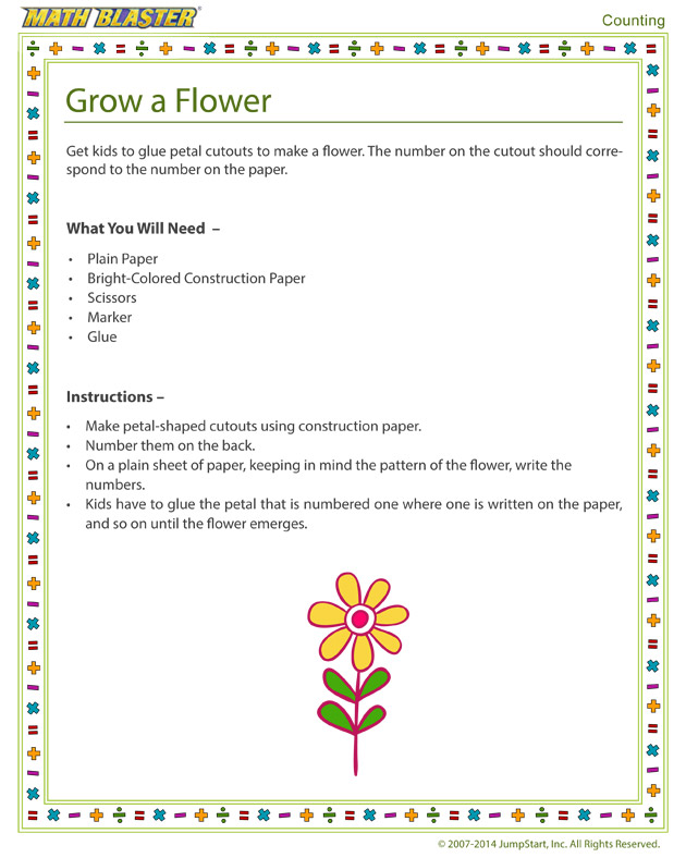 Grow a Flower - Free Kindergarten Counting Activity