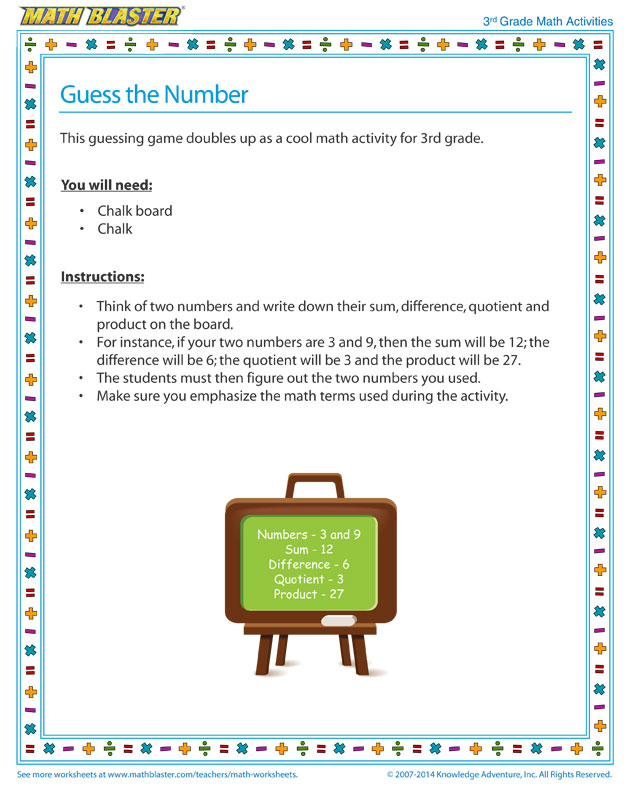 Guess the Number  - Number Sense Activity Free and Printable for 3rd Grade