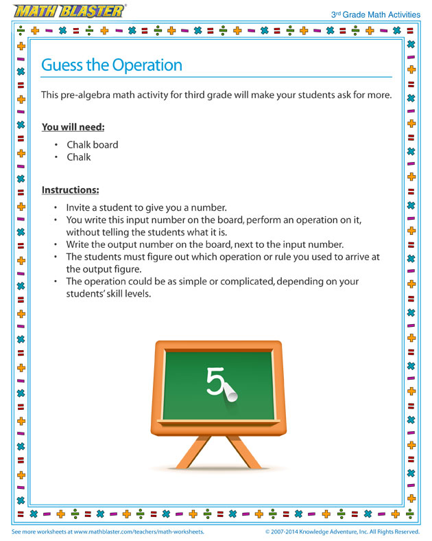 Guess the Operation - Cool Math Activity for Third Grade