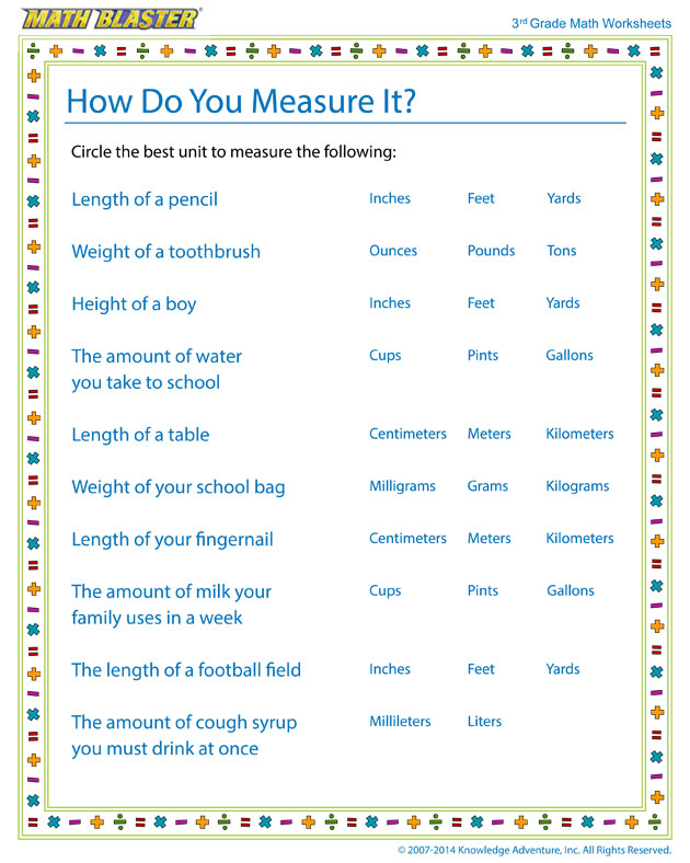 How Do You Measure It? - Measurement Worksheet for 3rd Grade