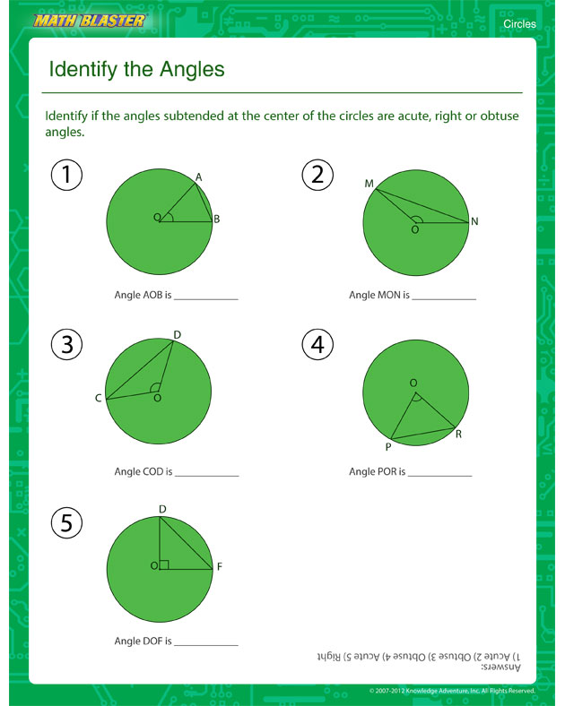 identify the angles view free printable circles worksheet for 5th grade math blaster. Black Bedroom Furniture Sets. Home Design Ideas